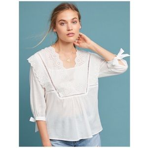 Anthropologie Shreya Eyelet Peasant Top XS NWOT